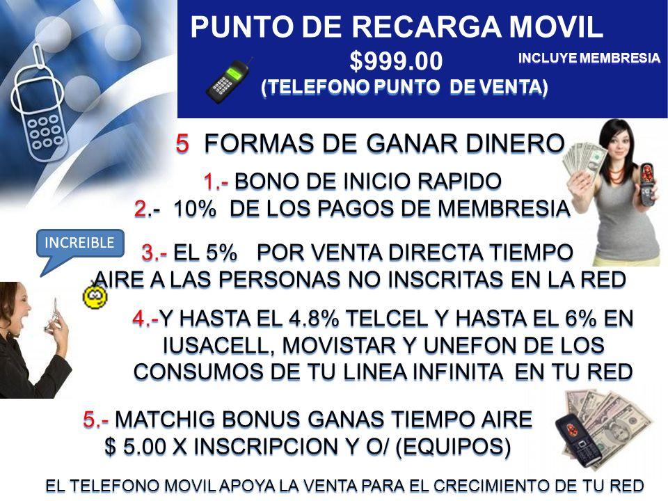 1.-BONO DE INICIO RAPIDO $100.00 $100.00 DE CADA INVITADO QUE ELIGIO PAGAR SU MEMBRESIA DE $299.00 2.-10% DE LOS PAGOS DE MEMBRESIA DE LA MAYOR PARTE DE TODA TU RED.