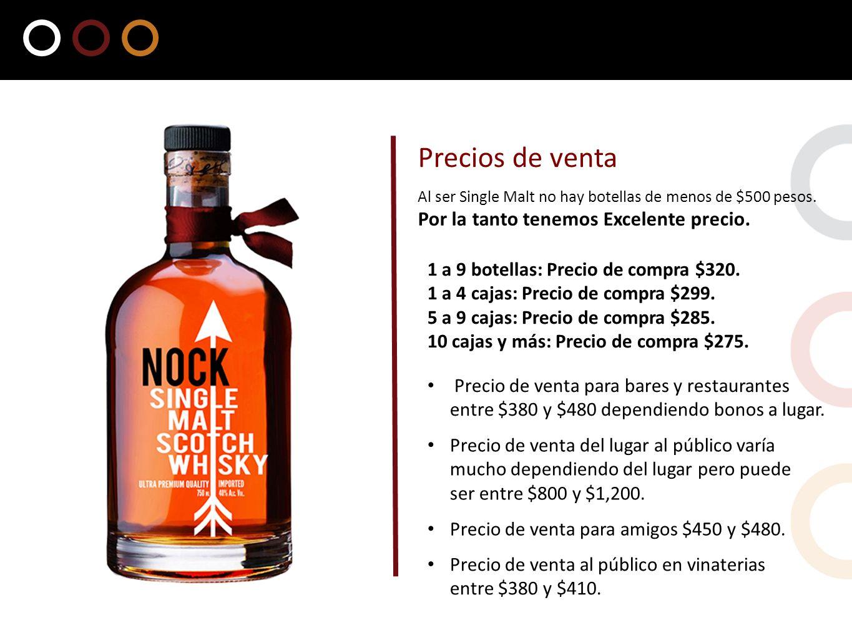 1 a 9 botellas: Precio de compra $320. 1 a 4 cajas: Precio de compra $299. 5 a 9 cajas: Precio de compra $285. 10 cajas y más: Precio de compra $275.