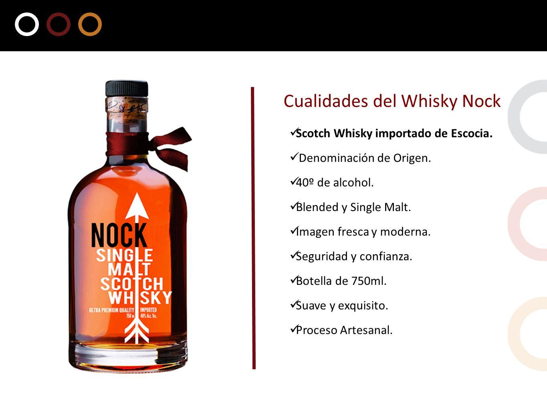 Scotch Whisky importado de Escocia. Cualidades del Whisky Nock Denominación de Origen. Suave y exquisito. 40º de alcohol. Blended y Single Malt. Proce