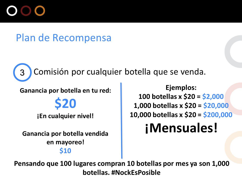 3 Comisión por cualquier botella que se venda. Plan de Recompensa Ganancia por botella en tu red: $20 ¡En cualquier nivel! Ganancia por botella vendid