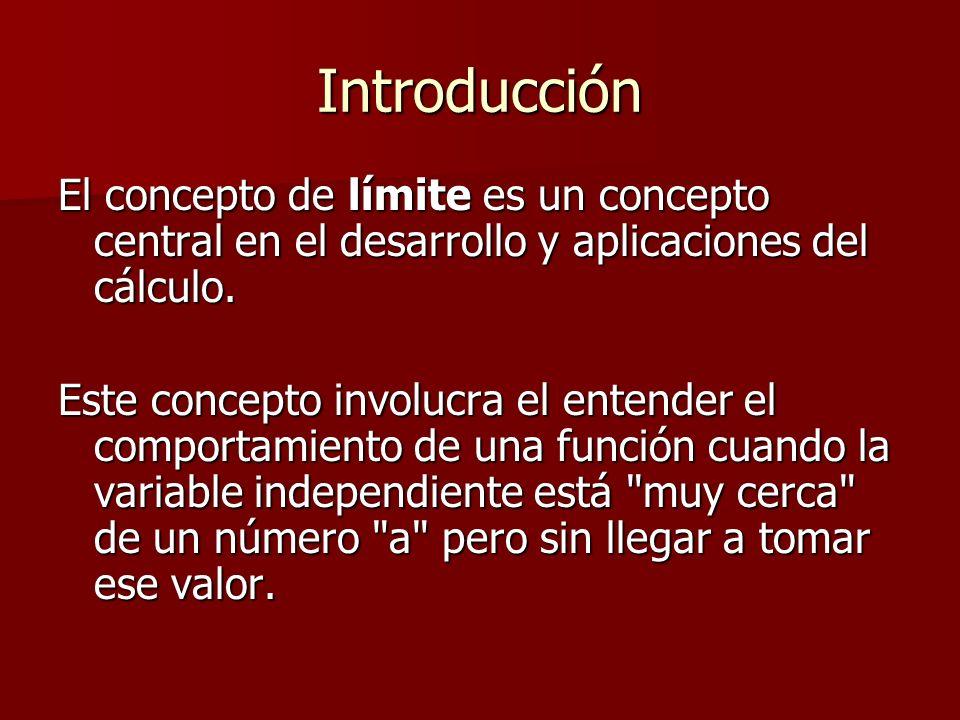 Introducción El concepto de límite es un concepto central en el desarrollo y aplicaciones del cálculo. El concepto de límite es un concepto central en