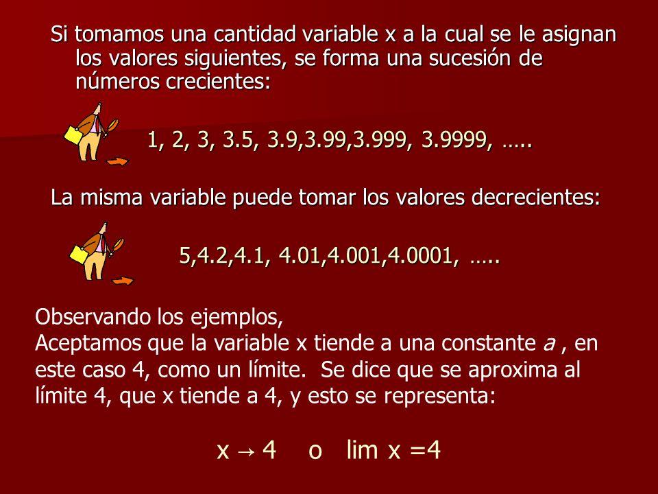 Si tomamos una cantidad variable x a la cual se le asignan los valores siguientes, se forma una sucesión de números crecientes: 1, 2, 3, 3.5, 3.9,3.99,3.999, 3.9999, …..