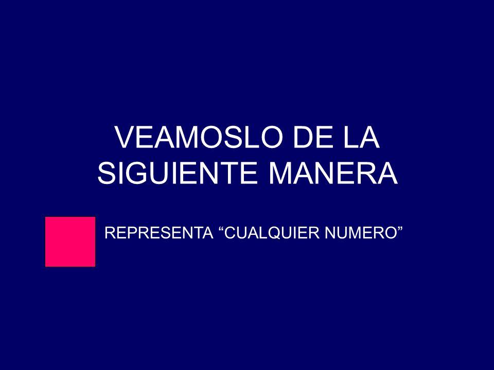 VEAMOSLO DE LA SIGUIENTE MANERA REPRESENTA CUALQUIER NUMERO