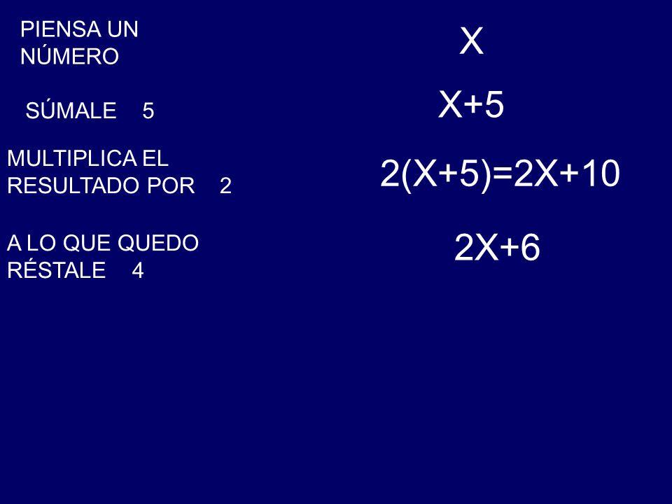 PIENSA UN NÚMERO X SÚMALE 5 X+5 MULTIPLICA EL RESULTADO POR 2 2(X+5)=2X+10 A LO QUE QUEDO RÉSTALE 4 2X+6