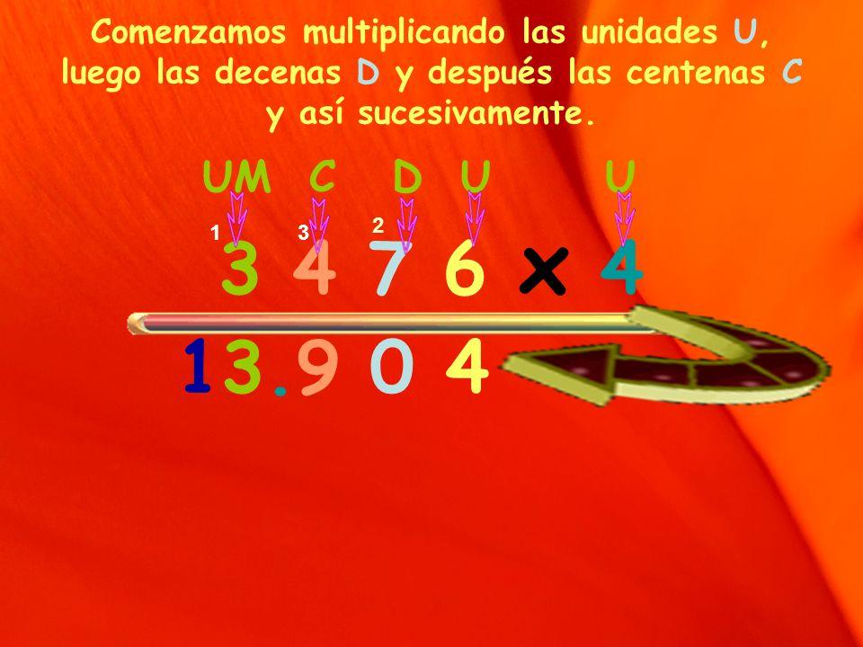 Comenzamos multiplicando las unidades U, luego las decenas D y después las centenas C y así sucesivamente. UM C D U U 3 4 7 6 x 4 13.9 0 4 2 31