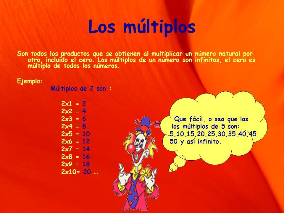 Los múltiplos Son todos los productos que se obtienen al multiplicar un número natural por otro, incluido el cero. Los múltiplos de un número son infi