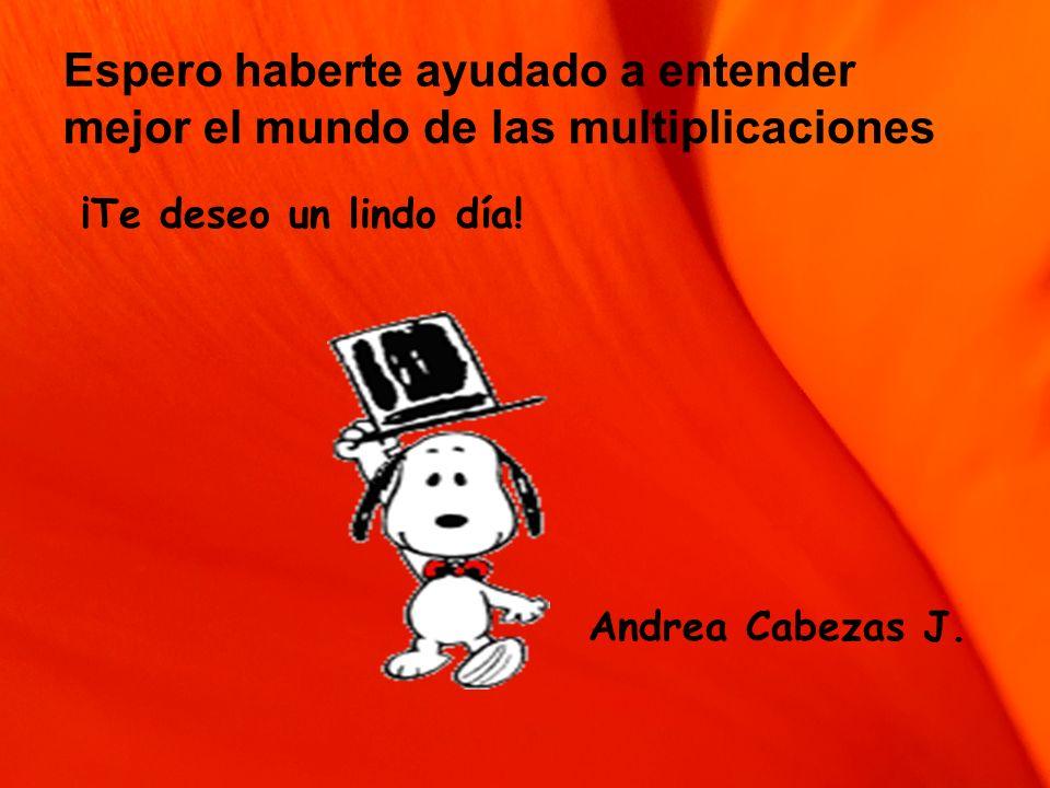 Espero haberte ayudado a entender mejor el mundo de las multiplicaciones ¡Te deseo un lindo día! Andrea Cabezas J.