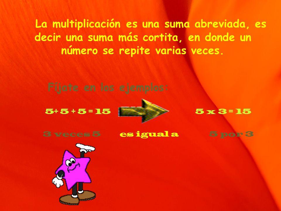 La multiplicación es una suma abreviada, es decir una suma más cortita, en donde un número se repite varias veces. Fíjate en los ejemplos: 5+ 5 + 5 =