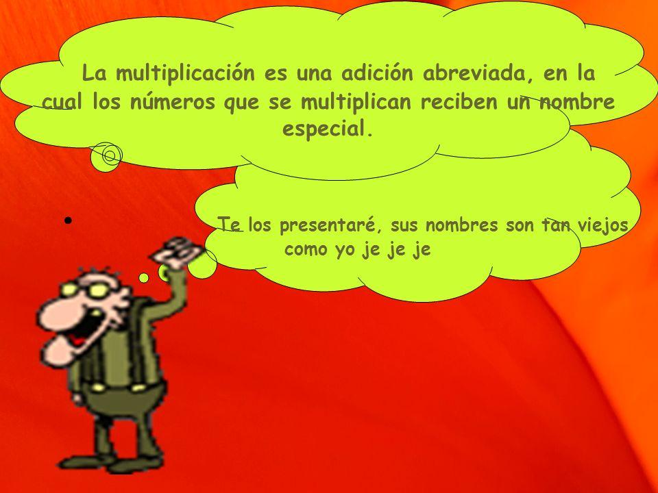 La multiplicación es una adición abreviada, en la cual los números que se multiplican reciben un nombre especial. Te los presentaré, sus nombres son t