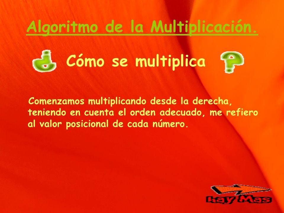 Algoritmo de la Multiplicación. Cómo se multiplica Comenzamos multiplicando desde la derecha, teniendo en cuenta el orden adecuado, me refiero al valo
