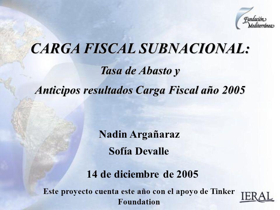 14 de diciembre de 2005 CARGA FISCAL SUBNACIONAL: Tasa de Abasto y Anticipos resultados Carga Fiscal año 2005 Nadin Argañaraz Sofía Devalle Este proyecto cuenta este año con el apoyo de Tinker Foundation