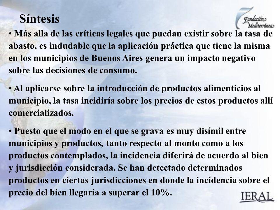 Síntesis Más alla de las críticas legales que puedan existir sobre la tasa de abasto, es indudable que la aplicación práctica que tiene la misma en los municipios de Buenos Aires genera un impacto negativo sobre las decisiones de consumo.