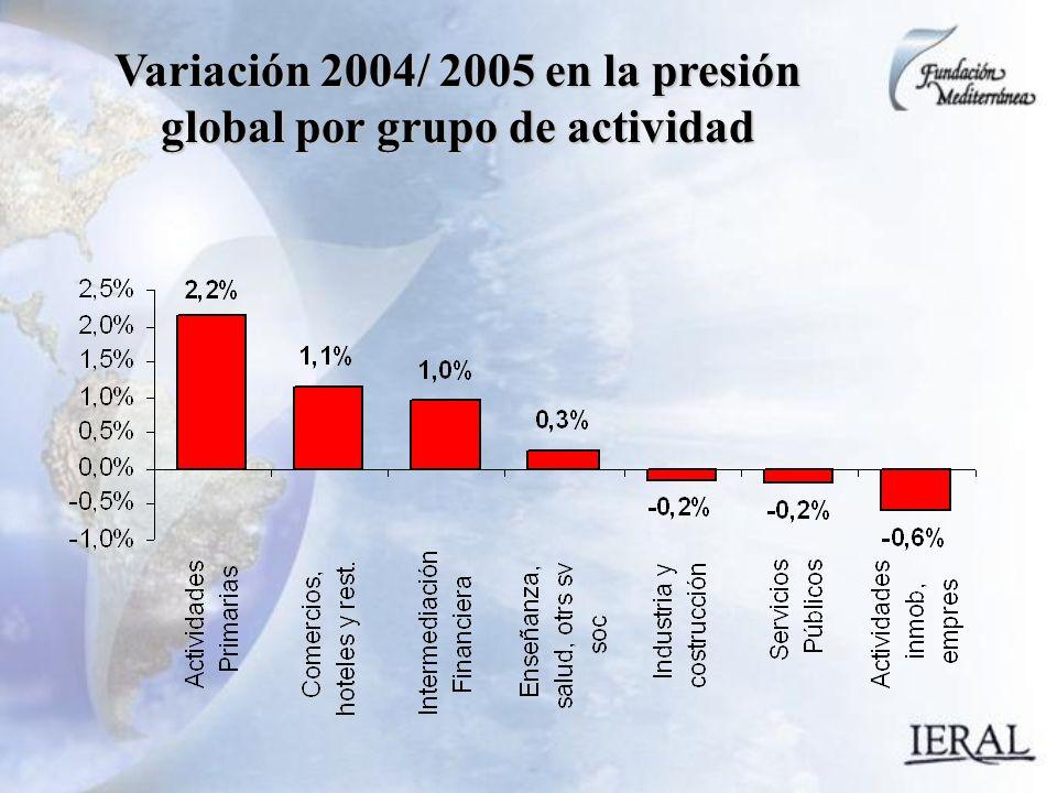 Variación 2004/ 2005 en la presión global por grupo de actividad