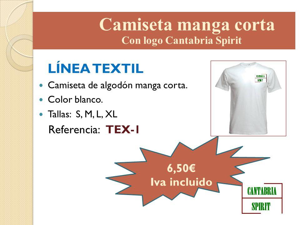 LÍNEA TEXTIL Camiseta de algodón manga corta. Color blanco. Tallas: S, M, L, XL Referencia: TEX-1 6,50 Iva incluido Camiseta manga corta Con logo Cant