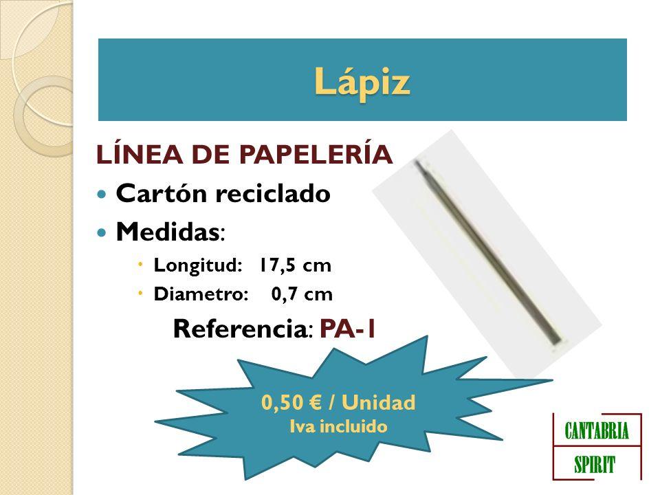 Lápiz LÍNEA DE PAPELERÍA Cartón reciclado Medidas: Longitud: 17,5 cm Diametro: 0,7 cm Referencia: PA-1 0,50 / Unidad Iva incluido