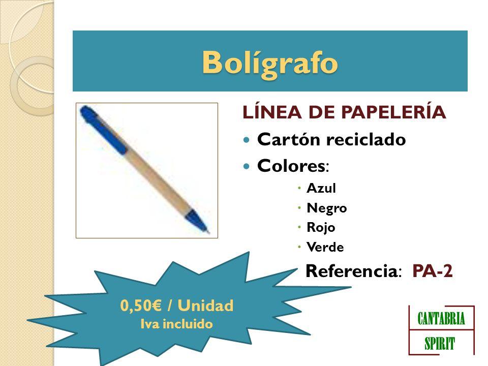 Bolígrafo LÍNEA DE PAPELERÍA Cartón reciclado Colores: Azul Negro Rojo Verde Referencia: PA-2 0,50 / Unidad Iva incluido