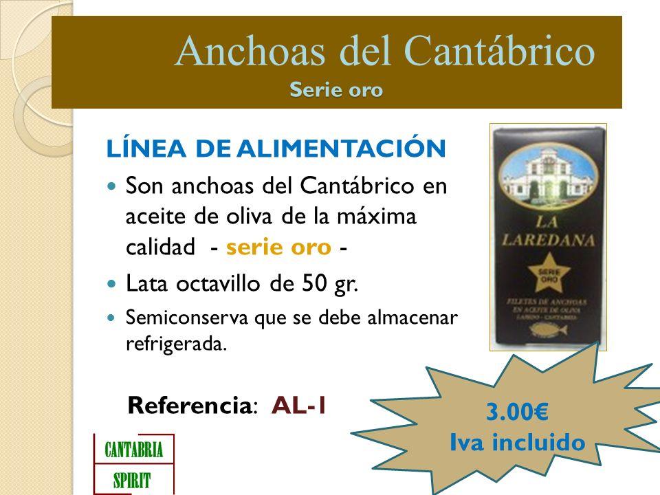 LÍNEA DE ALIMENTACIÓN Son anchoas del Cantábrico en aceite de oliva de la máxima calidad - serie oro - Lata octavillo de 50 gr.