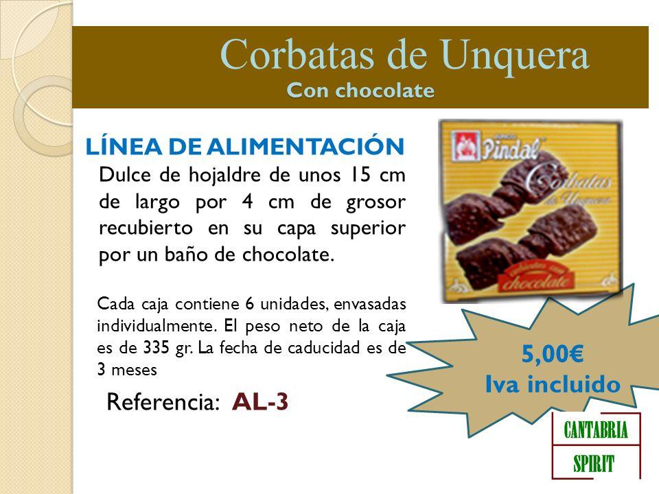LÍNEA DE ALIMENTACIÓN Dulce de hojaldre de unos 15 cm de largo por 4 cm de grosor recubierto en su capa superior por un baño de chocolate. Cada caja c