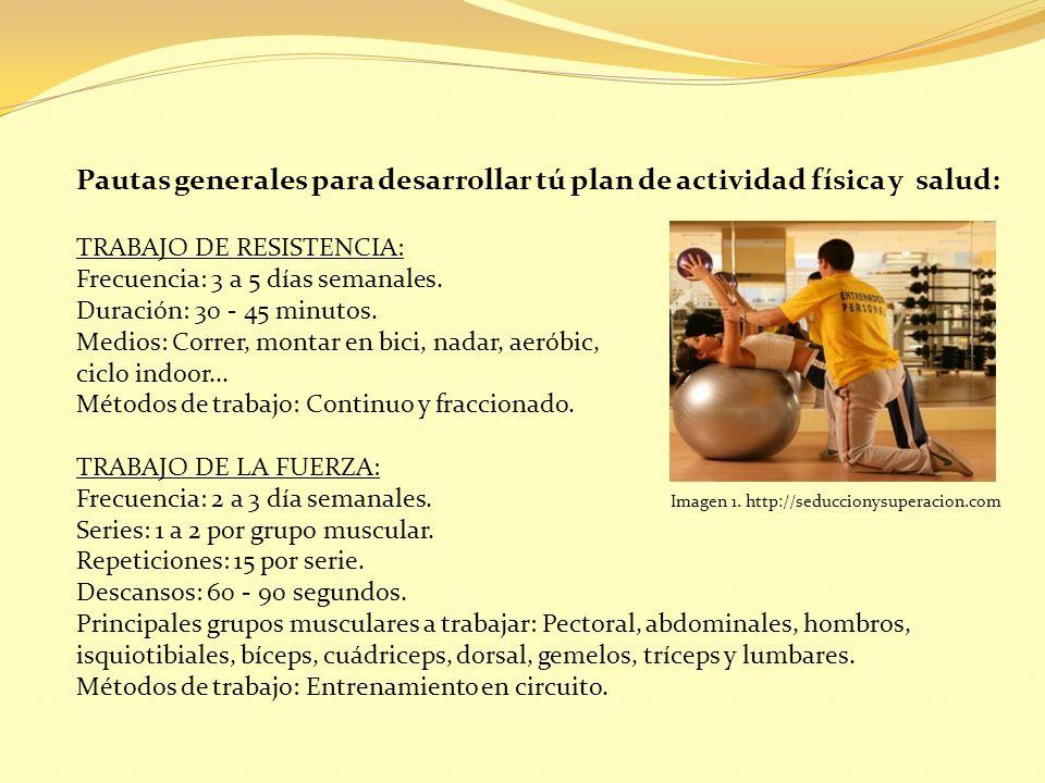 Pautas generales para desarrollar tú plan de actividad física y salud: TRABAJO DE RESISTENCIA: Frecuencia: 3 a 5 días semanales. Duración: 30 - 45 min