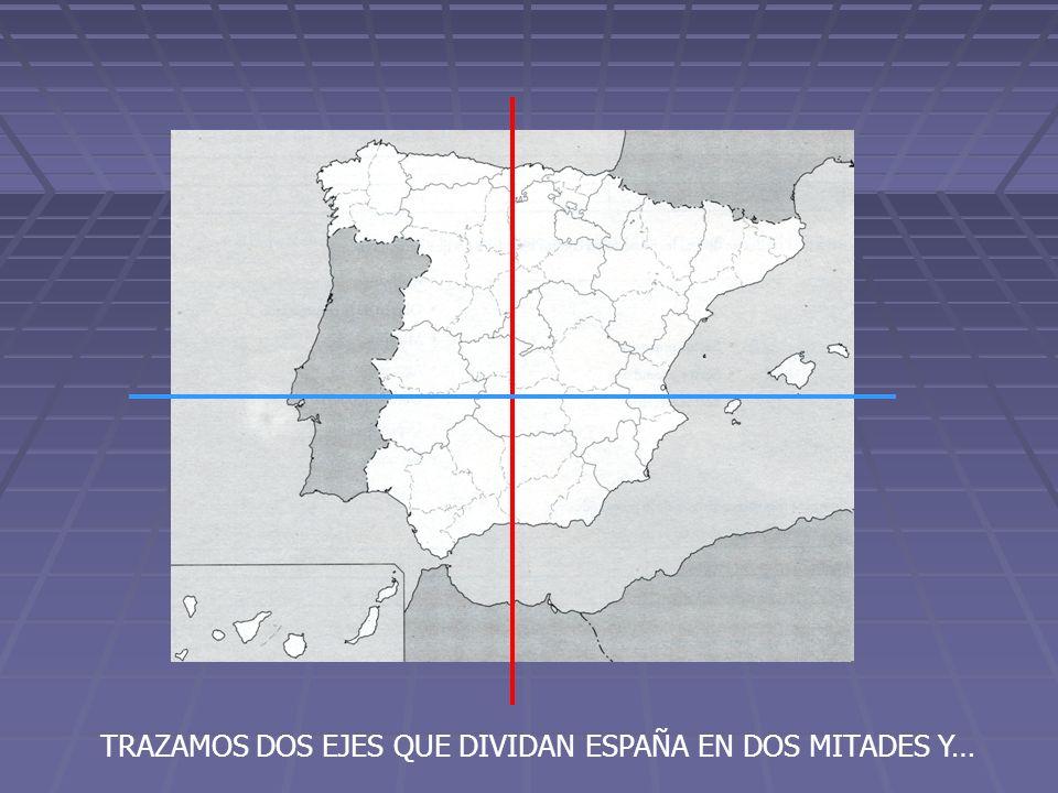 TRAZAMOS DOS EJES QUE DIVIDAN ESPAÑA EN DOS MITADES Y…