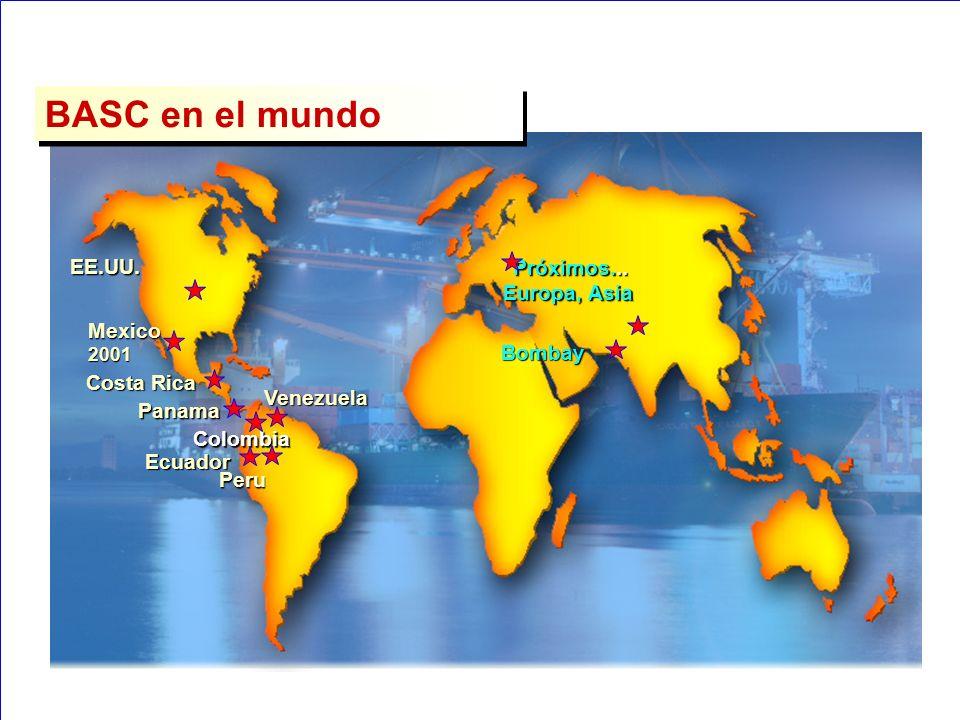 BASC en el mundo EE.UU. Panama Mexico 2001 Costa Rica Colombia Venezuela Ecuador Peru Próximos... Europa, Asia Bombay
