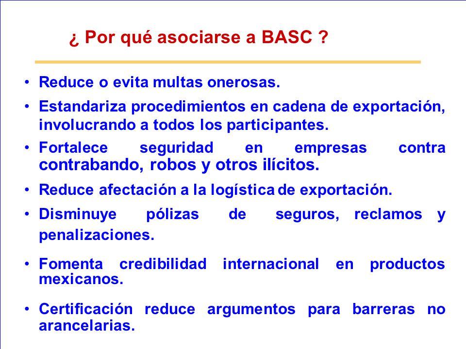 ¿ Por qué asociarse a BASC ? Reduce o evita multas onerosas. Estandariza procedimientos en cadena de exportación, involucrando a todos los participant