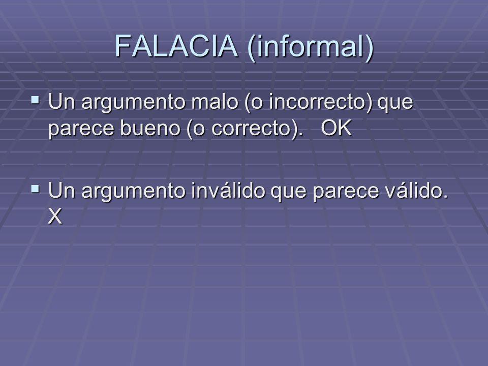 FALACIA (informal) Un argumento malo (o incorrecto) que parece bueno (o correcto). OK Un argumento malo (o incorrecto) que parece bueno (o correcto).