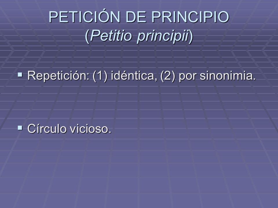 PETICIÓN DE PRINCIPIO (Petitio principii) Repetición: (1) idéntica, (2) por sinonimia. Repetición: (1) idéntica, (2) por sinonimia. Círculo vicioso. C