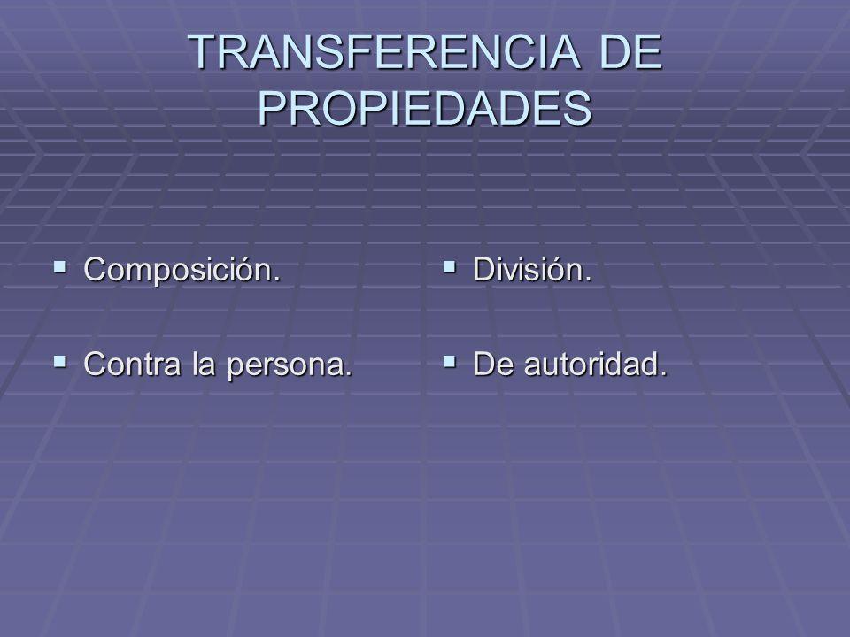 TRANSFERENCIA DE PROPIEDADES Composición. Composición. Contra la persona. Contra la persona. División. División. De autoridad. De autoridad.