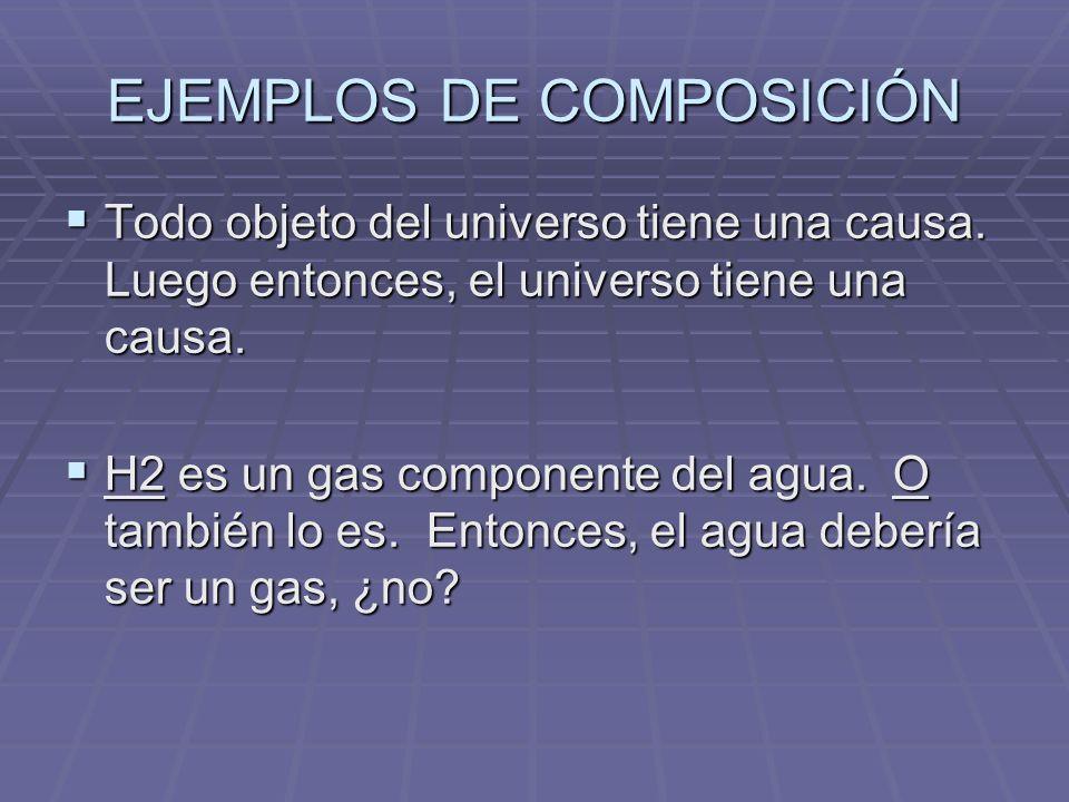 EJEMPLOS DE COMPOSICIÓN Todo objeto del universo tiene una causa. Luego entonces, el universo tiene una causa. Todo objeto del universo tiene una caus