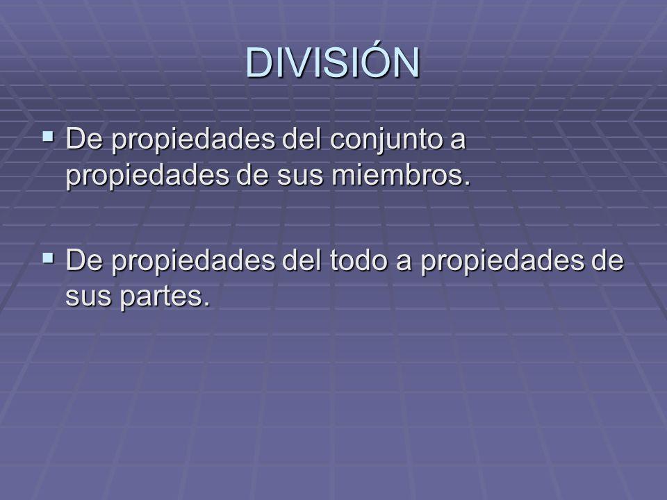 DIVISIÓN De propiedades del conjunto a propiedades de sus miembros. De propiedades del conjunto a propiedades de sus miembros. De propiedades del todo