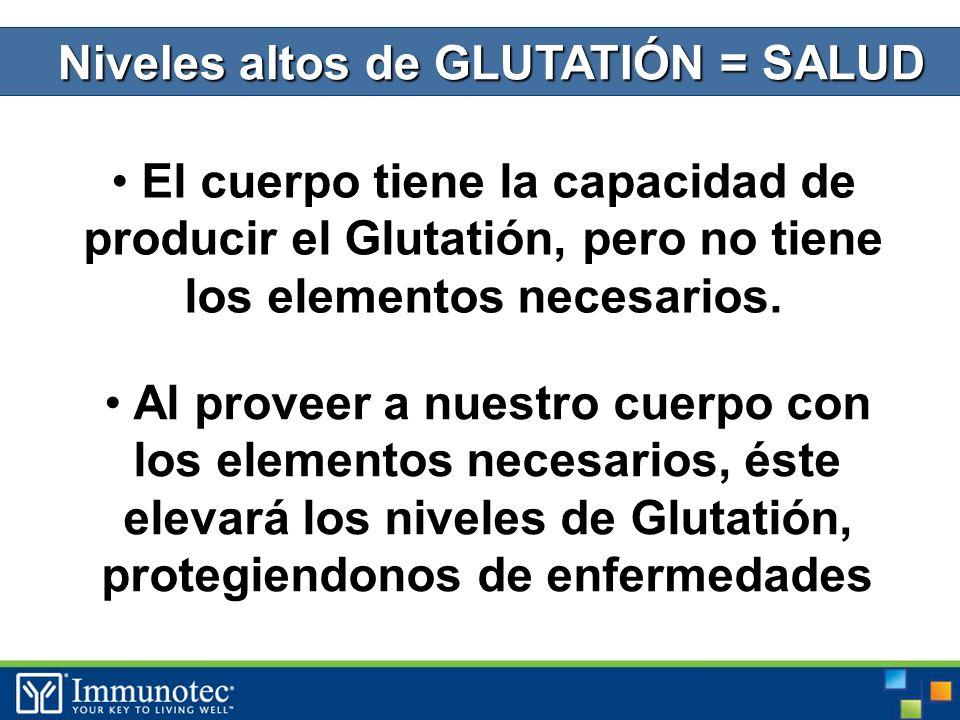 Niveles altos de GLUTATIÓN = SALUD El cuerpo tiene la capacidad de producir el Glutatión, pero no tiene los elementos necesarios.
