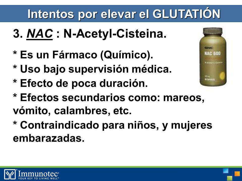 3. NAC : N-Acetyl-Cisteina. Intentos por elevar el GLUTATIÓN * Es un Fármaco (Químico).