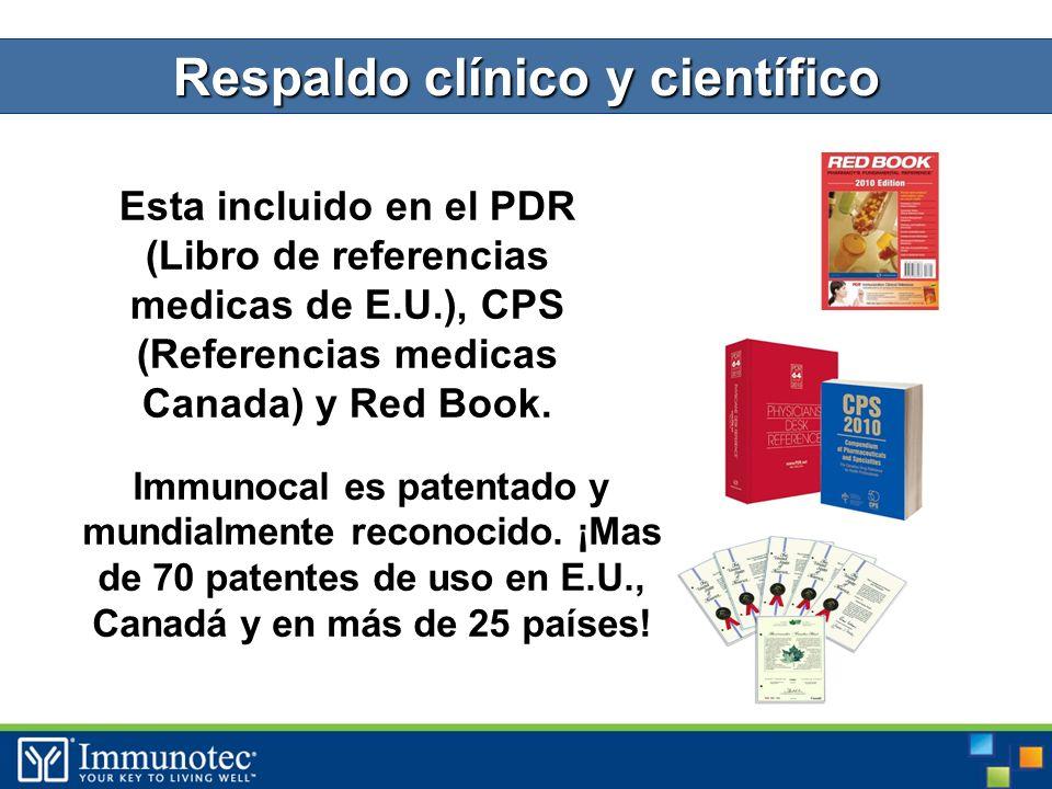 Esta incluido en el PDR (Libro de referencias medicas de E.U.), CPS (Referencias medicas Canada) y Red Book.