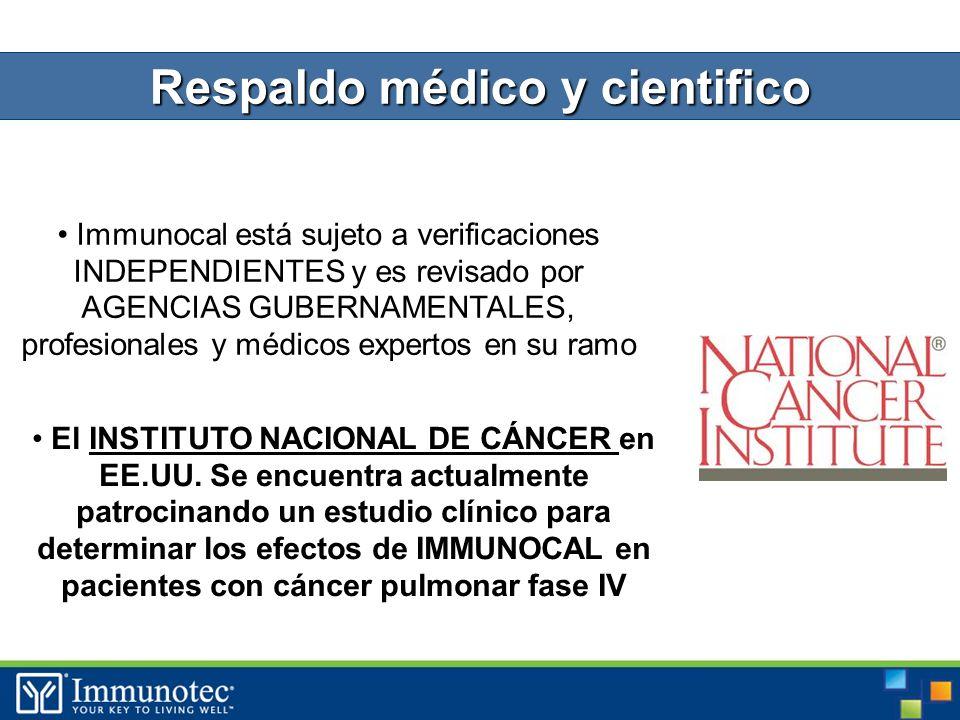 Immunocal está sujeto a verificaciones INDEPENDIENTES y es revisado por AGENCIAS GUBERNAMENTALES, profesionales y médicos expertos en su ramo El INSTITUTO NACIONAL DE CÁNCER en EE.UU.
