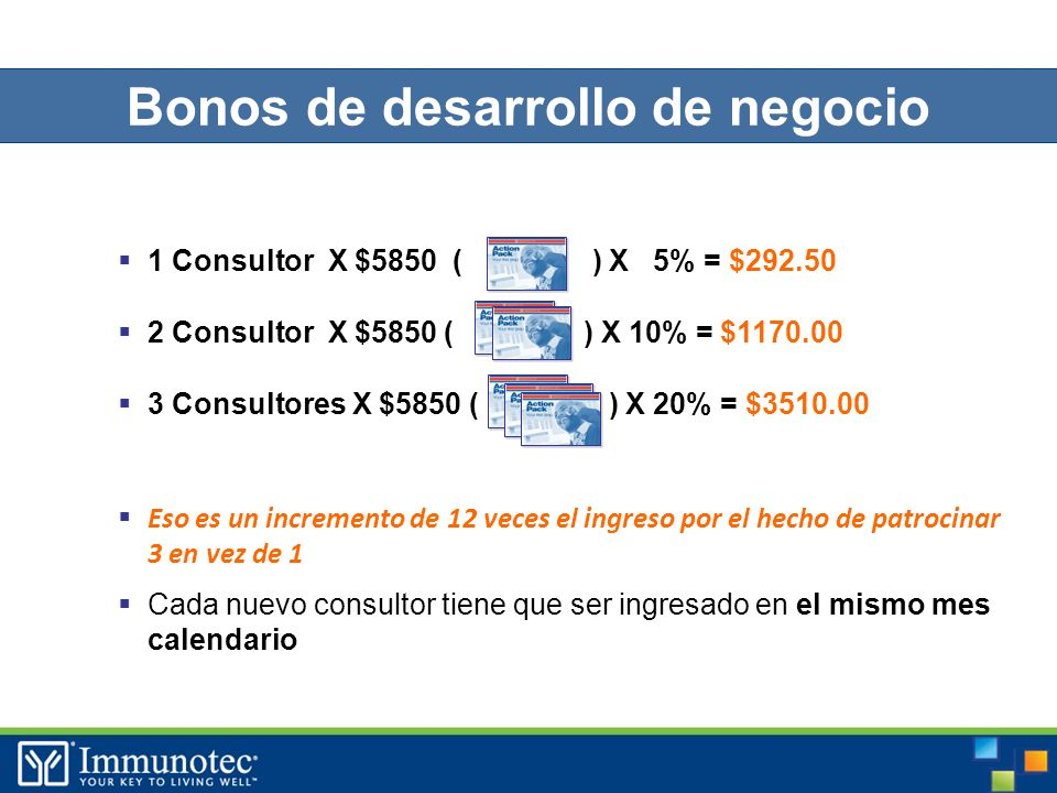 35 1 Consultor X $5850 ( ) X 5% = $292.50 2 Consultor X $5850 ( ) X 10% = $1170.00 3 Consultores X $5850 ( ) X 20% = $3510.00 Eso es un incremento de 12 veces el ingreso por el hecho de patrocinar 3 en vez de 1 Cada nuevo consultor tiene que ser ingresado en el mismo mes calendario Bonos de desarrollo de negocio
