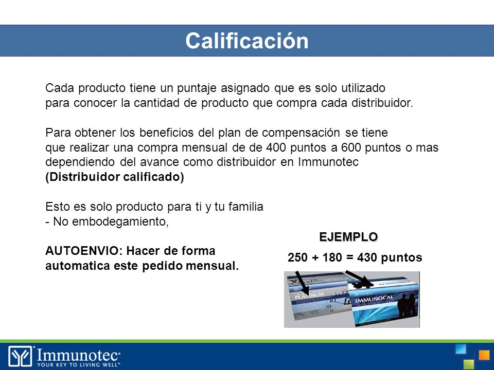 39 Calificación Cada producto tiene un puntaje asignado que es solo utilizado para conocer la cantidad de producto que compra cada distribuidor.