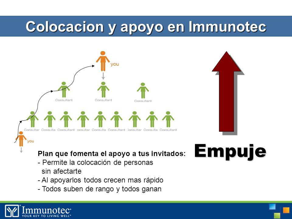 Empuje Colocacion y apoyo en Immunotec Plan que fomenta el apoyo a tus invitados: - Permite la colocación de personas sin afectarte - Al apoyarlos todos crecen mas rápido - Todos suben de rango y todos ganan