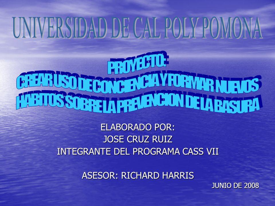 ELABORADO POR: JOSE CRUZ RUIZ INTEGRANTE DEL PROGRAMA CASS VII ASESOR: RICHARD HARRIS JUNIO DE 2008