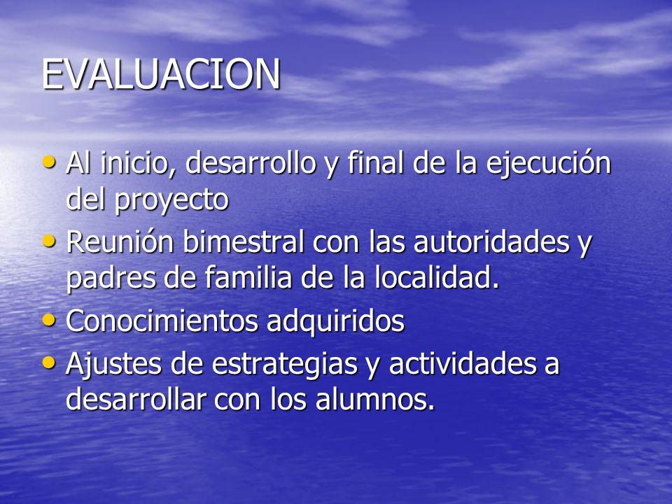 EVALUACION Al inicio, desarrollo y final de la ejecución del proyecto Al inicio, desarrollo y final de la ejecución del proyecto Reunión bimestral con