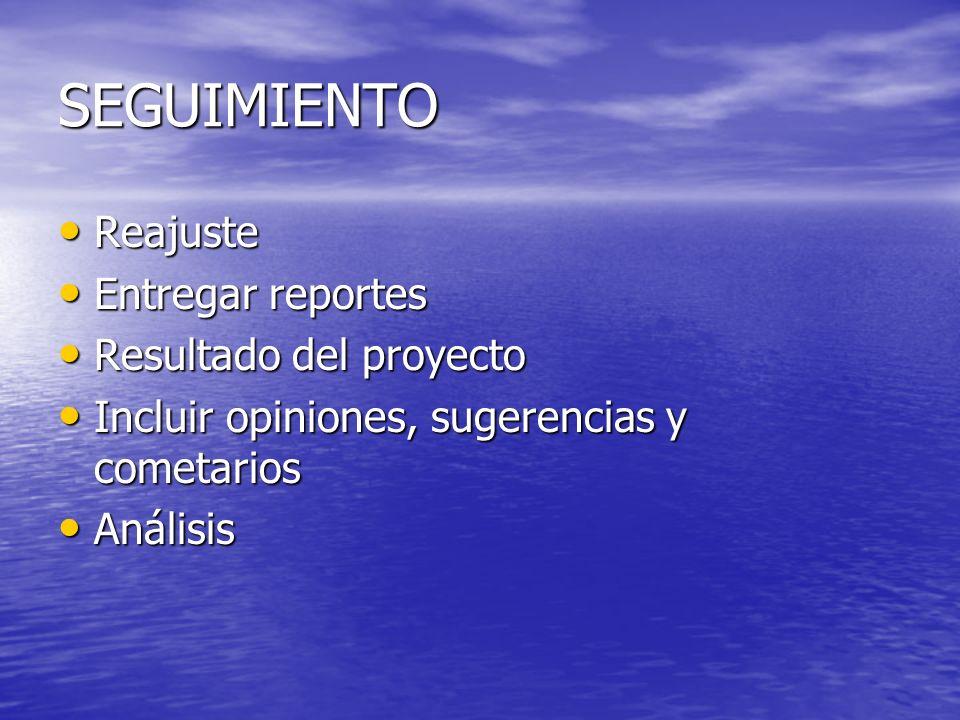 SEGUIMIENTO Reajuste Reajuste Entregar reportes Entregar reportes Resultado del proyecto Resultado del proyecto Incluir opiniones, sugerencias y comet