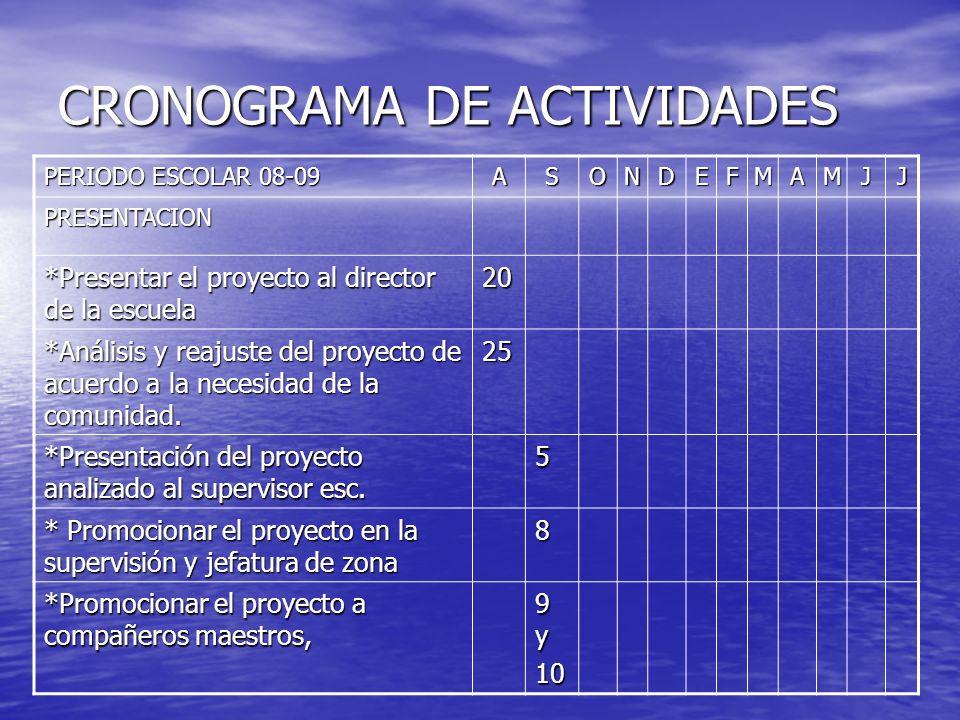 CRONOGRAMA DE ACTIVIDADES PERIODO ESCOLAR 08-09 ASONDEFMAMJJ PRESENTACION *Presentar el proyecto al director de la escuela 20 *Análisis y reajuste del