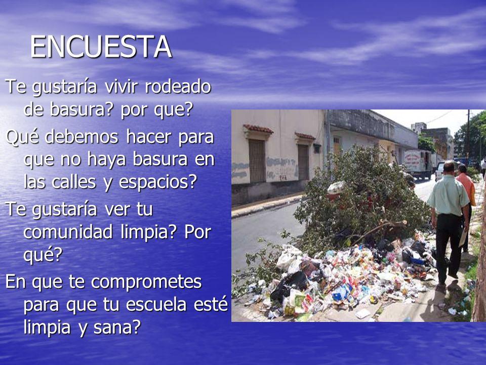 ENCUESTA Te gustaría vivir rodeado de basura? por que? Qué debemos hacer para que no haya basura en las calles y espacios? Te gustaría ver tu comunida