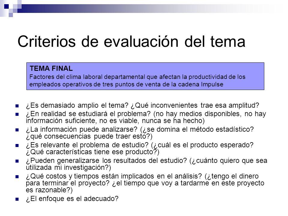 Criterios de evaluación del tema ¿Es demasiado amplio el tema? ¿Qué inconvenientes trae esa amplitud? ¿En realidad se estudiará el problema? (no hay m