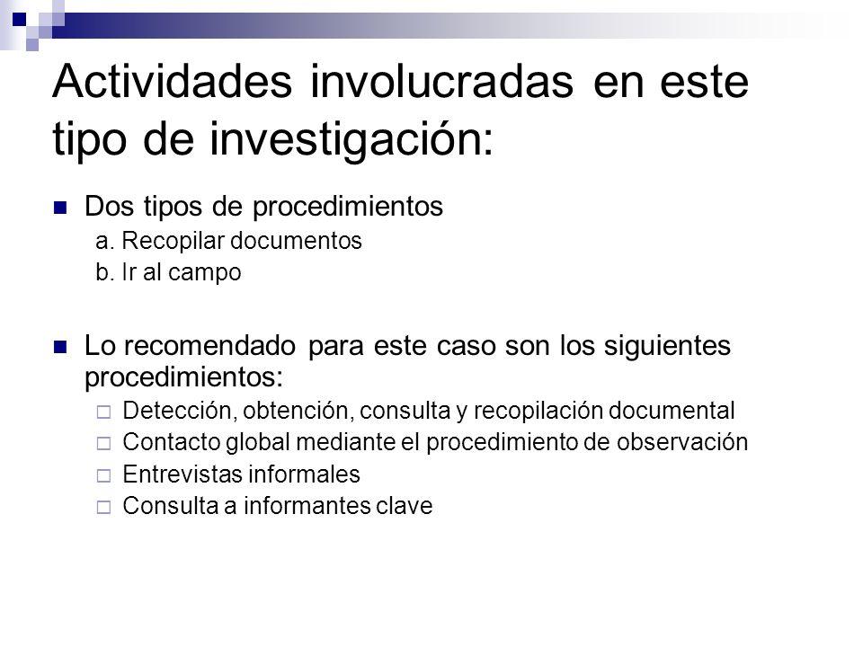 Actividades involucradas en este tipo de investigación: Dos tipos de procedimientos a. Recopilar documentos b. Ir al campo Lo recomendado para este ca