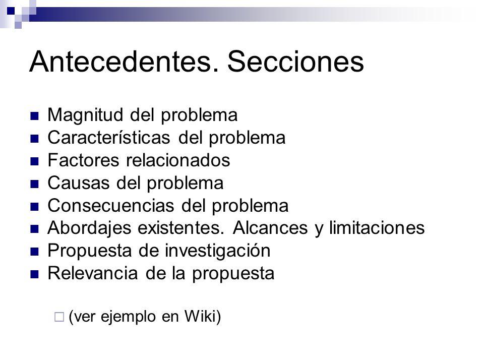 Antecedentes. Secciones Magnitud del problema Características del problema Factores relacionados Causas del problema Consecuencias del problema Aborda