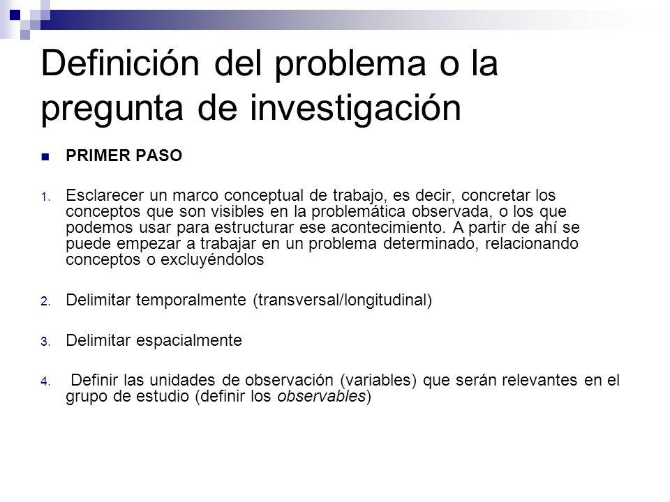 Definición del problema o la pregunta de investigación PRIMER PASO 1. Esclarecer un marco conceptual de trabajo, es decir, concretar los conceptos que