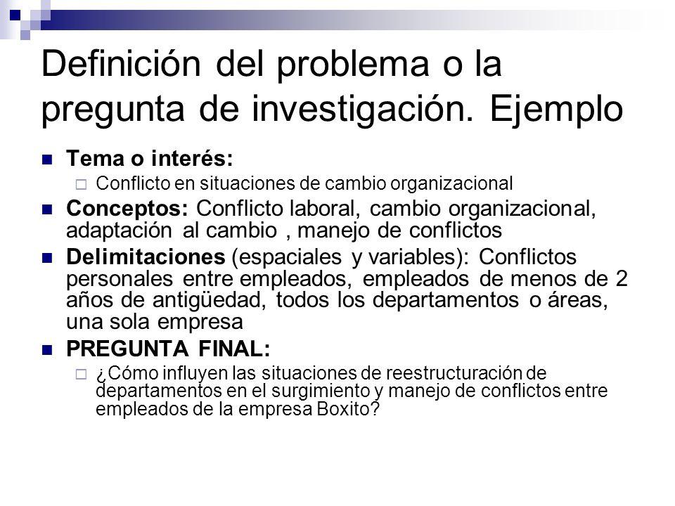 Definición del problema o la pregunta de investigación. Ejemplo Tema o interés: Conflicto en situaciones de cambio organizacional Conceptos: Conflicto