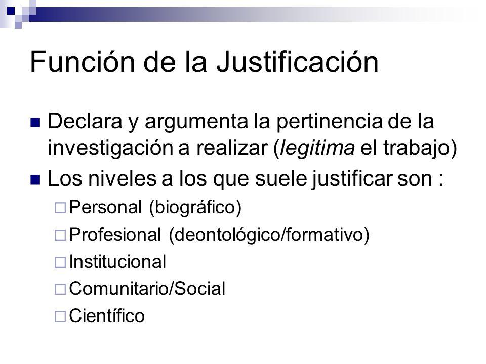 Función de la Justificación Declara y argumenta la pertinencia de la investigación a realizar (legitima el trabajo) Los niveles a los que suele justif