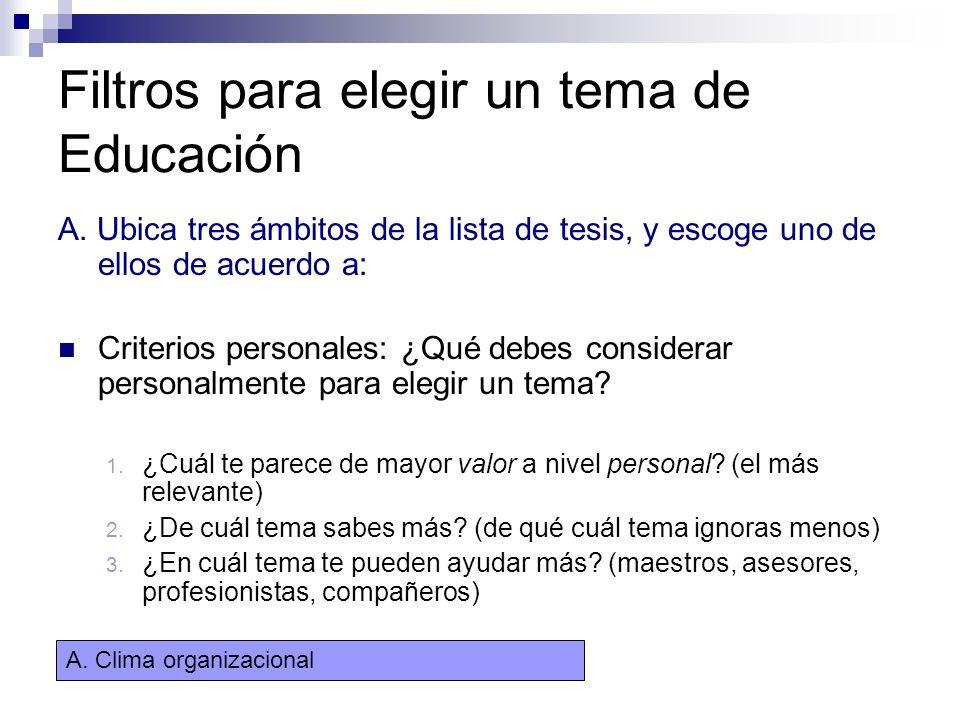Filtros para elegir un tema de Educación A. Ubica tres ámbitos de la lista de tesis, y escoge uno de ellos de acuerdo a: Criterios personales: ¿Qué de